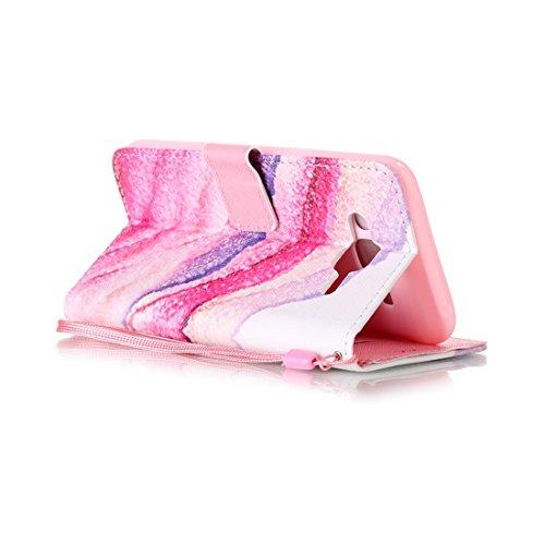 nancen Apple iPhone 5/5S/Si (4,0pollici) Cover, Colorful alto Qualità Portafoglio Pelle PU Bookstyle Portafoglio Flip Custodia Custodia PU Leather Case Wallet Cover con funzione supporto stand e slot sable rose