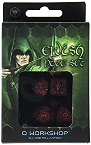 Q WORKSHOP Elvish Black & Red RPG Ornamented Dice Set 7 Polyhedral Pieces