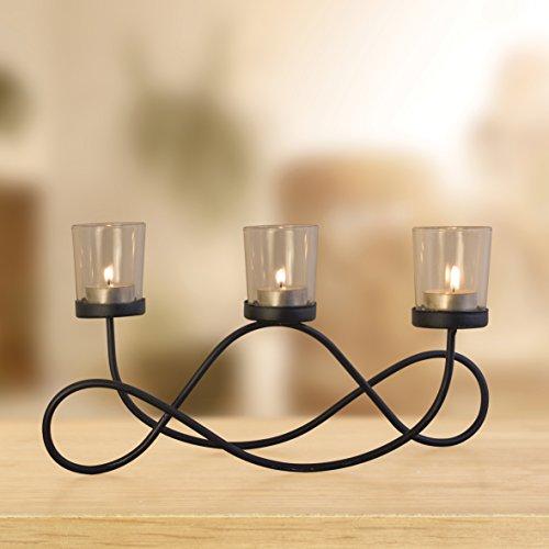 Anika–Twisted Metal 3-candle o velas chimenea o decoración de mesa Centrepiece, Negro