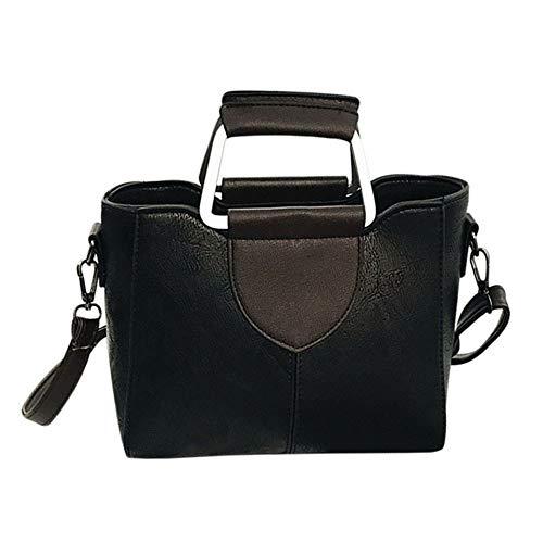 VADFLOD Damen Leder Elegante Umhängetasche Doppel D-Ring Griff Handtasche Umhängetaschen Tote, Schwarz (Leder Tote-doppel-griff)