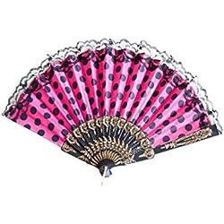 La Señorita Abanico Flamenco Rosa con Puntos Negro Vestido Español