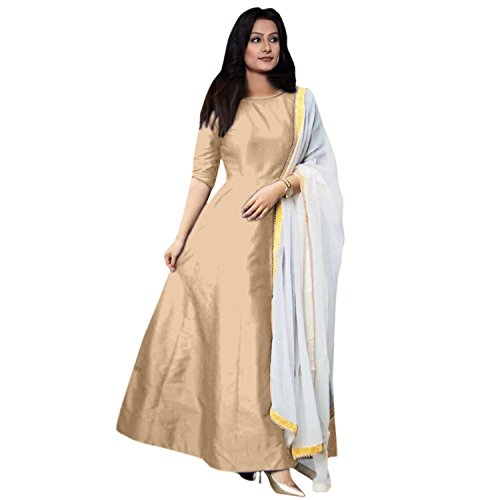Dharmi One Pices Designer Fancy Partywear Wedding Indo - Westren Cream Color Gown For Women And Girls partywear lehenga for women