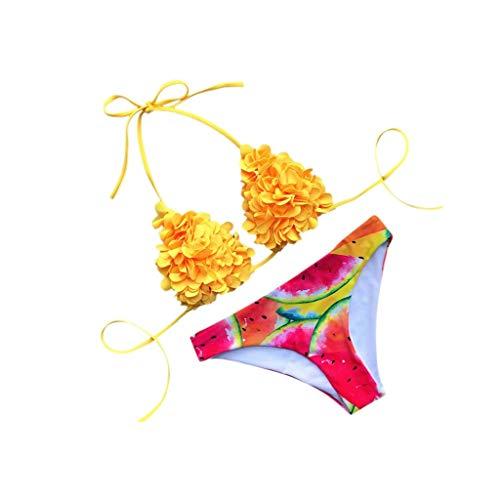 REALIKE Damen Zweiteilige Badebekleidung Elegant Blume Neckholder Ärmello Bustier Oberteile Mode Blumendruck Bikinihose Schwimmanzug Swimsuit Bademode Bikini Set Badeanzug Deep Plunge Mini