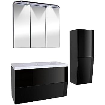 3-teiliges Badezimmermöbel-Set inkl. Waschbecken, Spiegelschrank ... | {Doppelwaschbecken mit unterschrank und spiegelschrank 61}