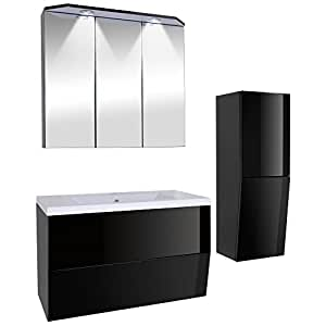3 teiliges badezimmerm bel set inkl waschbecken spiegelschrank unterschrank und seitenschrank. Black Bedroom Furniture Sets. Home Design Ideas