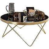 Wohnling Couchtisch Dana Ø 82 cm Schwarz/matt Gold Beistelltisch Metall/Glas | Tisch mit Glasplatte | Ablagetisch modern | Großer Wohnzimmertisch | Glastisch mit Metallgestell