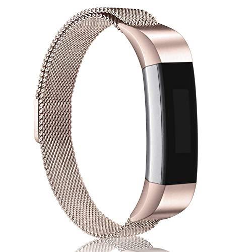 Golden Gate Now !!! Fitbit Alta Armband Alta HR Metall Bänder, Mailänder Edelstahl, verstellbares Ersatz-Zubehör für Fitbit Alta (HR) Fitness-Armband, bunt, champagnerfarben