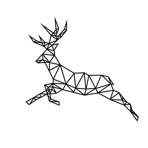 LUFADIY geométrica ejecución de los ciervos Wall Sticker 3D de vinilo de la pared de arte Geometría Animal serie Home Office Decor