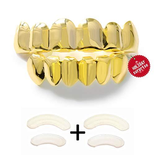 Charly Shop tsanly Benutzerdefinierte Fit 14K Gold Grillz versilbert Grills Zahn Kappen Top & Bottom Grill ()