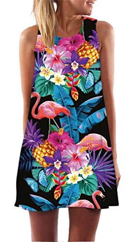 Ocean Plus Damen Casual Top Freizeit Flamingo Blätter Sommer Ärmellos Kleider Ohne Arm Westenkleid Partykleid Sommerkleid Minikleid Strandkleid (XXL (EU 42-44), Flamingo Schmetterling auf Schwarzem) - Ocean Blatt