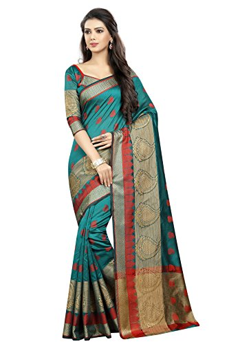 SATYAM WEAVES WOMEN'S ETHNIC WEAR BANARASI COTTON SILK RAMA COLOUR SAREE. (VANDANA...