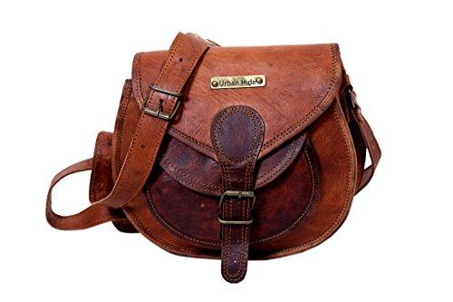 Handgefertigte echtes Leder Damen Satchel Geldbörse Handtasche Vintage Cross-Body Tasche (Satchel Front Leder Pocket)