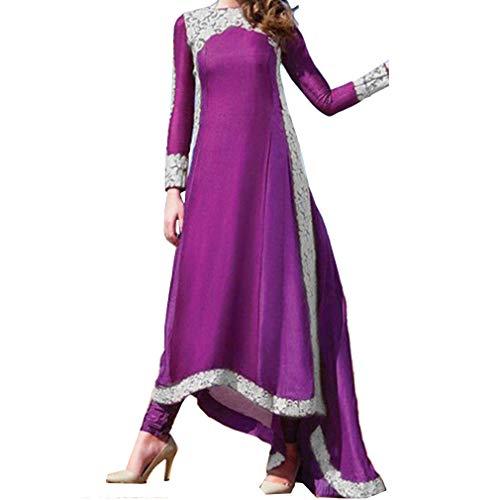 kunfang Mujer Musulmán Vestido Túnica Islam Arab Suelto Robe Dubai Arabia Saudita Marroquí Malasio Maxi Vestido Largo para Ramadan Negro Púrpura S M L XL XXL