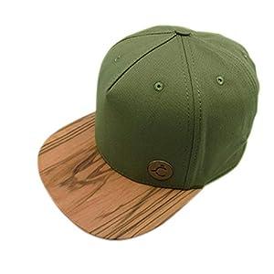 5 Panel Cap,Hat, Snapback, Kappe, Olive Holz/Wood Brim, S/M