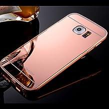Casos hermosos, cubiertas, Marco y caja del teléfono backplane espejo compacto plateado para la Samsung Galaxy S4 / S5 / S6 / s6edge / edge + (colores surtidos) ( Color : Oro Rosa , Modelos Compatibles : Galaxy S6 Edge Plus )
