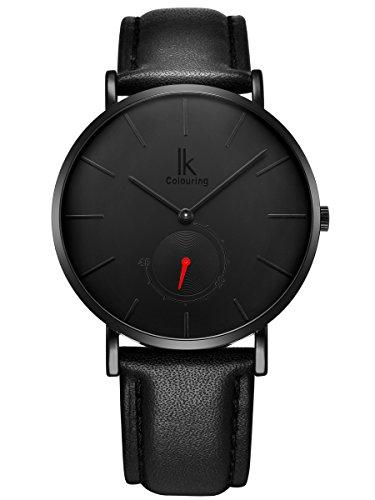 Alienwork Armbanduhr Herren Damen Uhr Leder Armband Lederarmband Lederband schwarz Quarz Herrenuhr Damenuhr Ultra-flach dünn Klassik