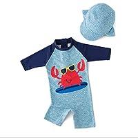 Cartoon marine pattern children's Siamese sunscreen long sleeve cute cartoon print swimsuit swimsuit (4T)