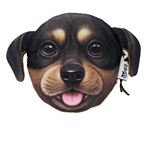 YaJaMa Süß Hund Kopf Reißverschluss Klein Münzbörsen Geldbörsen Geldbeutel Schlüsseltasche für Damen & Mädchen (Hund Nr. 3) (Hund Kleiner Portemonnaie)