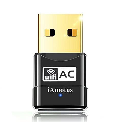Amotus Adaptateur USB WiFi Mini Double Bande Wireless 2.4/5GHz Sans fil Dongles AC600 Nano Wlan Stick Portatif avec 802.11n/g/b/a/ac Compatible avec PC Windows XP/Vista/7/8/10 Linux Mac OS