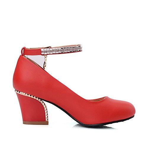 VogueZone009 Damen Rund Zehe Mittler Absatz Weiches Material Rein Schnalle Pumps Schuhe Rot