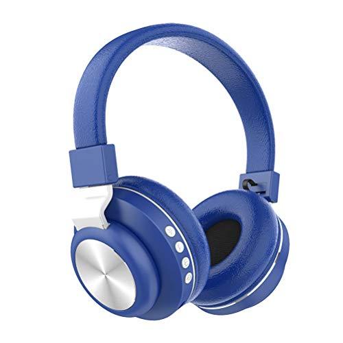 JHSHENGSHI Bluetooth Kopfhörer, Kabellos Stereo Faltbare Kopfhörer Kabellose und Kabel-Kopfhörer mit Integriertem Mikrofon, Musikgenuss für bis zu 8 Stunden,Micro SD/TF, für Handys/iPad/PC, Blue -