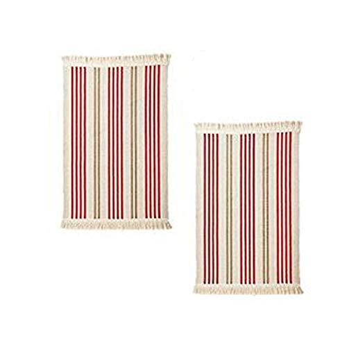 Red Stripe Teppich (Ikea flatwoven Küche Bereich Teppich mit Farbe Streifen, 22x 33, Niedrige Flor Baumwolle Maschinenwaschbar Überwurf Badteppich Läufer (2x Teppiche) 22 x 33 Red/Green Stripe)