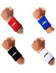 Toalla muñequeras pulsera COOLOMG para Baloncesto Tenis Badminton 6 colores disponible en 4 piezas Black,Red,White,Blue