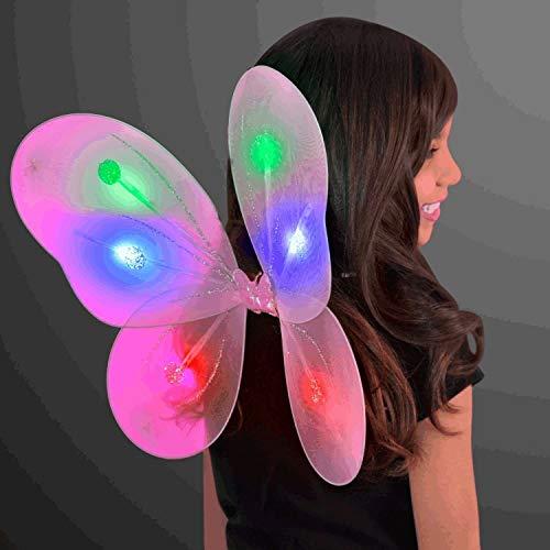 MODEOR Light Up Pink Fairy Butterfly Wings von LED Halloween Costume für Süßes oder Saures und Nacht sicher (Up Wings Butterfly Light)
