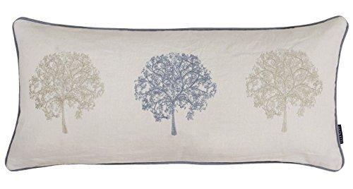 gefüllt Bäume Baum bestickt lang Boudoir Baumwolle Leinen silbergrau beige Kissen 30 x 65cm (Lange Boudoir Kissen)