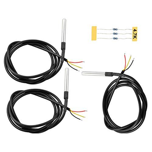 Keyestudio DS18B20 Temperatursensor, + 4,7 K, wasserdicht, digital, Widerstands-Kit für die Messung der Temperatur der Luft, Flüssigkeiten wie Wasser und der Temperatur des Bodens, 3 stück für Arduino -