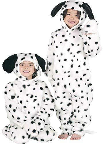 Enfants Garçon Filles de Luxe Fourrue Dalmatien Dalmatien Chien Combinaison Animal Journée Du Livre Déguisements Costume 3-12 Ans - Noir/Blanc, 10-12 years (152cms)