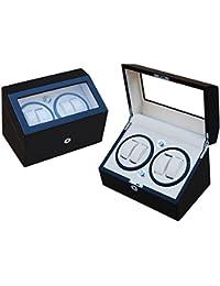 Lindberg & Sons Bobinadora para 4 relojes automáticos Madera negra Terciopelo color crema Luces LED - WW-8046-b