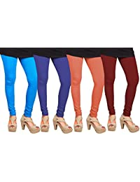 CAY 100% Cotton Combo of Orange, Maroon, SkyBlue and Blue Color Plain, Stylish & Most Comfortable Leggings For Girls & Women with Full Length (SIZE : Free Size)