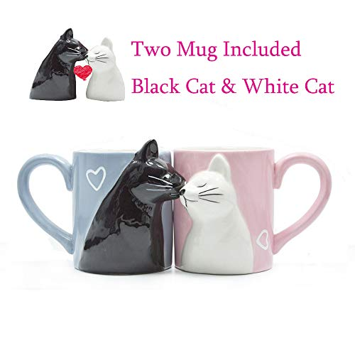 Binoster Tazas de gatos de café del Beso,Regalo Pareja Taza de té Regalo para Boda Nupcial Compromiso Aniversario y Matrimonio Matrimonio Aniversario Día de San Valentín