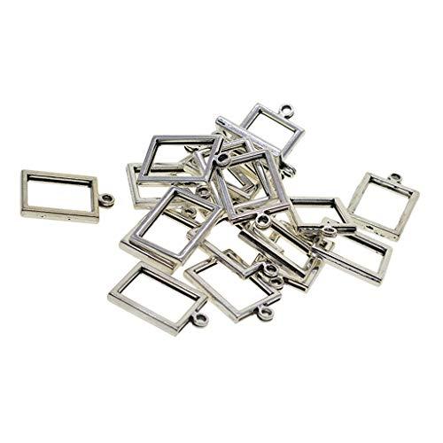 chiwanji Anhänger, rechteckig, Metalllegierung, offene Lünette, blanko, Rahmen mit Schlaufe für UV-Harz, Handwerk, Schmuckherstellung, Zubehör, 20 Stück