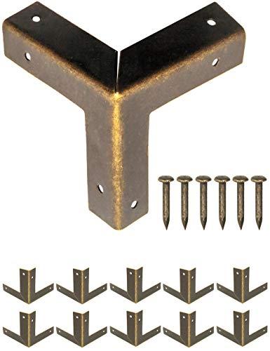 FUXXER® - 10x Antike Möbel-Ecken, Metall Schutz-Ecken, Kanten-Schutz Beschläge für Kisten Boxen Möbel Regal Tisch, Vintage Messing Antik Optik, 32 x 32 mm, 10er Set inklusive Nägel