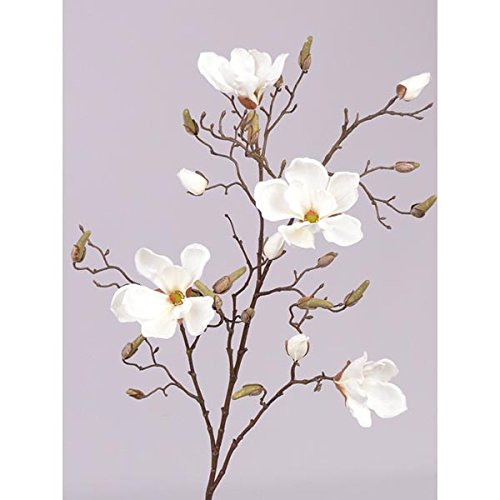 artplants - Deko Magnolienzweig LORA, 4 Blüten, Knospen, creme - weiß, 110 cm - Künstlicher Zweig / Kunst Blumen