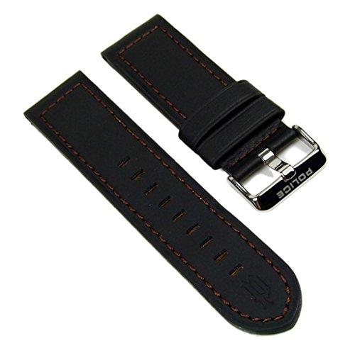 Police Ersatzband Uhrenarmband Leder Band 24mm schwarz/Braun für Lancer Herrenuhr P12591JS-14