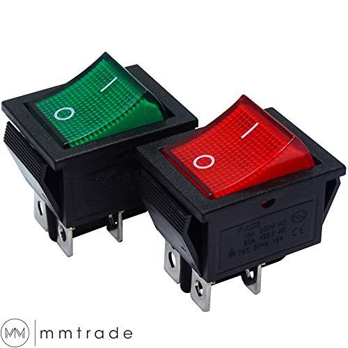 mmtrade   2x Kippschalter rot/grün beleuchtet 230V, ON-OFF/EIN-AUS Wippschalter beleuchtet, DPST, Einbauschalter einrastbar mit Selbsthemmung, 20A/125VAC, 15A/250VAC