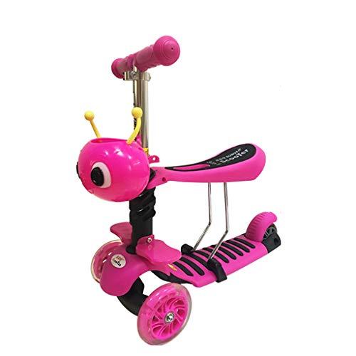 Kinder-Roller 3-Rad-Blitzrad Hand Push-Roller 2-8 Jahre alt Kindersitz Schaukel Auto Multifunktions-Tretroller (Farbe : Pink)