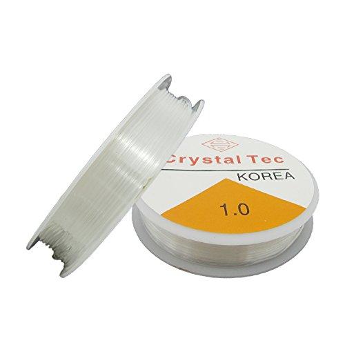 Bobine de 8 m de fil extensible flexible transparent de 1 mm pour fabrication de bijoux en perles