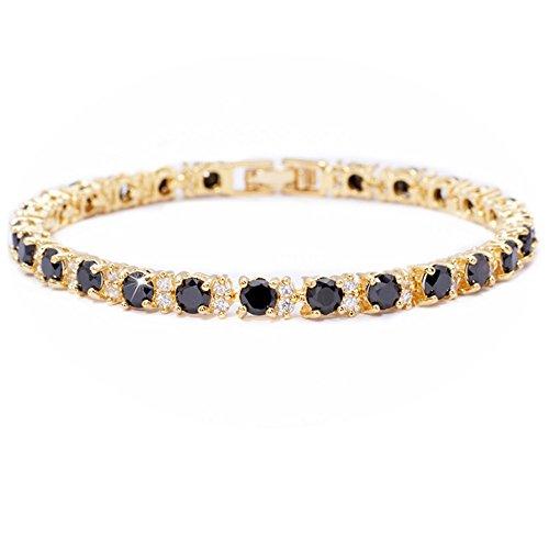 RIVA Ewigkeit Tennis Armband [18cm/7inch] mit Rundschliff Edelstein Zirkonia CZ [Schwarz Onyx] in 18K Gelbgold Vergoldet, Einfache Moderne Eleganz -