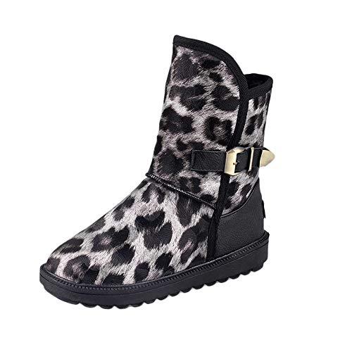 JURTEE Damen Winter Stiefeletten Round Toe Stiefel Leopard Drucken Flachen Schuh Warme Schneeschuhe