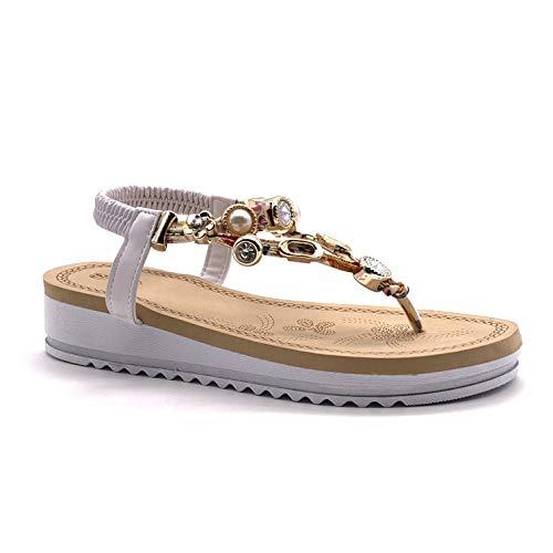Angkorly - scarpe moda sandali sandali casuale piatte spiaggia donna ciondoli gioielli tacco zeppa piattaforma 4 cm - bianco 202-81 t 39