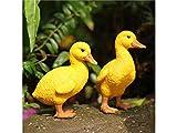 Ornement décoratif 2 canettes debout de canard de résine ornements décoration de paysage micro pour la maison de jardin (jaune) Mini décoration de jardin (Couleur : Yellow)