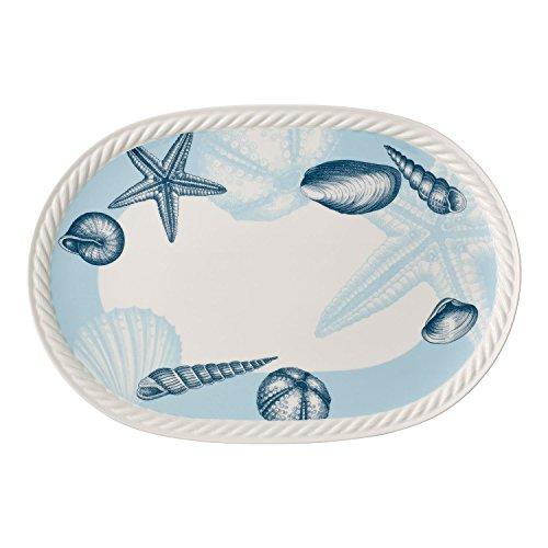 Villeroy & Boch Montauk Beachside ovale Platte, Geschirr aus Hochwertigem Premium in Blau und Beige, 43 x 30 cm Servierplatte, Porzellan, Weiß, 43 x 30 x 4 cm,