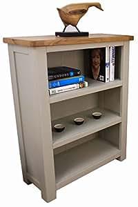 Aspen peint Bibliothèque Chêne vert/gris Petit meuble de rangement 3 étagères pour meuble