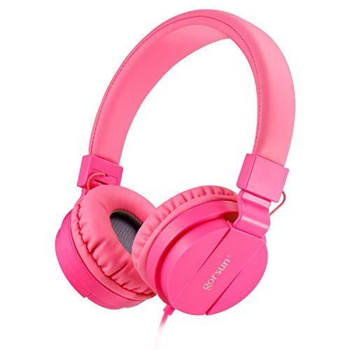 ONTA® gorsun Kopfhörer Kinder Faltbarer Leichte Headsets für Kinder On Ear Audio Kopfhörer für Kinder Handys Smartphones iPhone Laptop Computer mp3 / 4 Kinder Kopfhörer rosa