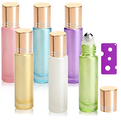 7119b40e8ce2 6Pcs, 10ml Essential Oil Roller Bottles - Yalbdopo Refillable Glass Roll on  Bottles with Stainless Steel Roller Balls & Gold Lids & Bottle Opener, ...