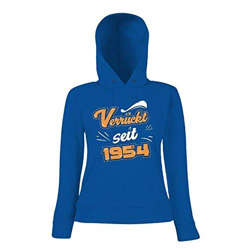 Verrückt seit 1954 Premium Hoody | Geburtstags-Hoody | 63. Geburtstag | Jahrgang 1954 | Frauen | Kapuzenpullover © Shirt Happenz Blau